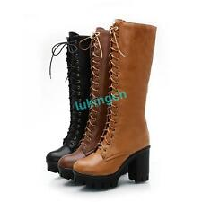 Gothic Women Chunky High Heel Shoes Punk Lace-Up Platform Ladies Knee High Boots
