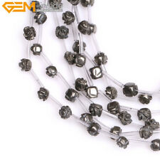 Natural Stone Genuin Pyrite Gemstone Rose Flower Beads For Jewelry Making 15""