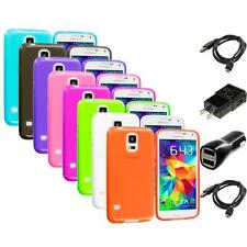 For Samsung Galaxy S5 SV TPU Transparent Color Soft Case Skin Cover 2X Chargers