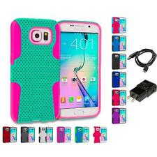 For Samsung Galaxy S6 Hybrid Rugged Mesh Hard Soft Skin Case Charger