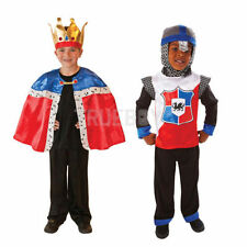 Childs New King Cape & Crown Or Knight Of The Realm Fancy Dress Costume Outfit