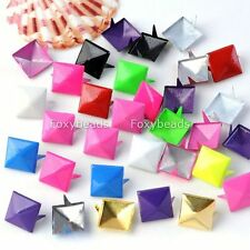 100x Cool Colors Square Pyramid Spike Stud Rock Leather Craft Diy Nailhead Punk