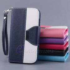 Flip Leather Pouch Stand Wallet Card Slot Hard Protector Skin Hard Case Cover