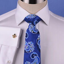 White Herringbone Formal Business Dress Shirt Double or Button Cuffs Spread Top