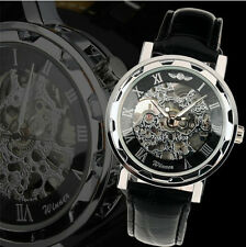 Men Skeleton Transparent Mechanical Stainless Steel Leather Sport Wrist Watch UK