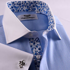 Blue Herringbone Formal Business Dress Shirt White Contrast French Double Cuff
