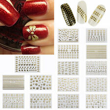 Metallic Glitter Nail Art Skull Bow Letter Cat Sticker Decal Decoration 3D Gold