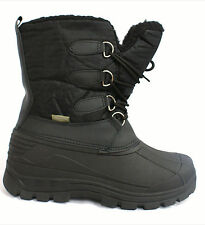 Ladies Flat Fur Lined Lace Up Grip Sole Mid Calf Winter Ski Snow Moon Boots Size