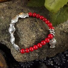 1PC Tibetan Silver  Fish Charm Pendant Turquoise Beaded Bracelet Cuff Bangle