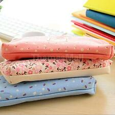 Flower Canvas Pencil Case Cosmetic Makeup Pouch Zipper Bag Purse Holder 4 Colors