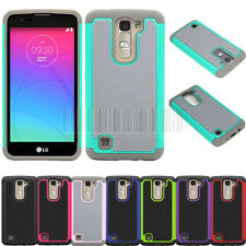 For LG Tribute 5 K7 Dual Layer Rugged Hybrid Rubber Hard Case Protective Cover