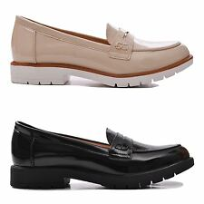 Ladies Slip on Smart Work Patent Flat Pumps Shine Low Heel Loafers Shoes Size