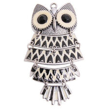 5pcs New Antique Silver Eye Inlay Rhinestone Enamel Owl Movable Charms Pendant D