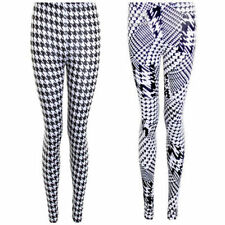 Ladies Dog Tooth Pattern B&W Monochrome Smart Stretch Casual Party Leggings