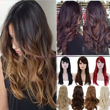 Ombre Long Curly Straight Full Head Wig Cosplay Party Daily Dress Synthetic R37