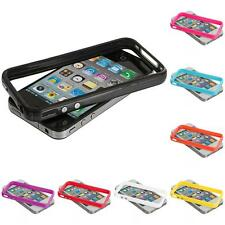 TPU Solid Bumper Frame Jelly Case Cover with Metal Buttons for iPhone 4 4G 4S
