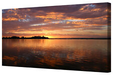 Panoramic Lake Yellow Dusk Sunset LARGE Box Framed Canvas Wall Art Picture Print