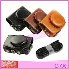 PU Leather Camera Case Cover Bag Pouch with Strap For Canon Powershot G7X