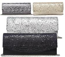 Shu Desire Ladies Sequin Stitched Envelope Evening Prom Wedding Party Clutch Bag