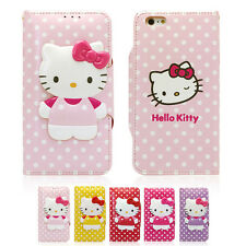 Hello Kitty Body Button Leather Card Wallet Cover Case For Apple iPhone 5 / 5S