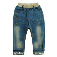 Kids Boys Toddlers 100% Cotton Trousers Vintage  Washed Denim Pants Jeans P878