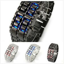 Cool Mens Womens Lava Samurai Iron Metal LED Faceless Bracelet Wristwatch
