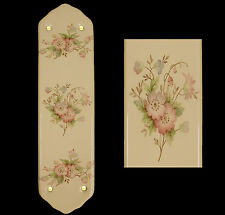 Cream Porcelain Ceramic Door Finger Push Plates Winchester Floral Design