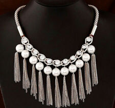 Silver Gold Gunmetal Rhinestone Crystal Pearl Fringe Tassel Statement Necklace