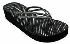 Womens Thong Wedge Flip Flops Sandals Black Brown Pink Metalic Polka Dots NEW