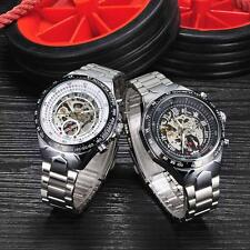 Winner Dial Mens Skeleton Stainless Steel Automatic Mechanical Wrist Watch K4O6