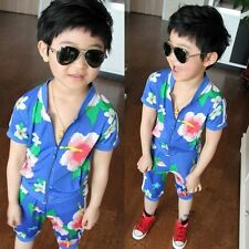 Kids Boys Girls  Blue Floral Shirt And Pants Sets Two Pieces Suits 3-8 Y S359