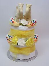 Twin nappy cake neutral unisex baby shower gift maternity present unique yellow