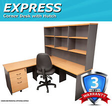 Express Corner Office Desk with Hutch - Beech/Ironstone
