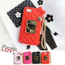 Hello Kitty Mirror Bag Silicone Card Bumper Cover Case For Apple iPhone 5 / 5S