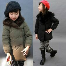 Kids Toddlers Girls Boys Lapel Fleece Hoodie Thick Jacket Outerwear Coat S409