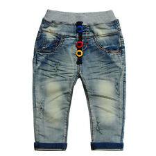 Kids Girls Toddlers 100% Cotton Denim  Trousers Color Buttons Jeans Pants P900