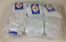 WHOLESALE 12 pairs of white Frilly Laced Socks with White Bow  FREE UK DELIVERY