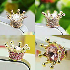 Crystal Crown Earphone Jack Anti Dust Plug Cap Stopper for CellPhone 3.5mm QH9