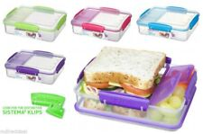 Sistema Snack attack Duo Sandwich Lunch Box 3 Compartment Air tight Clear New