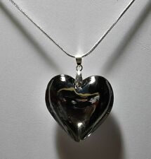 Murano Glass Large Chrome Tone Heart Pendant on 925 Silver Necklace #Valentine