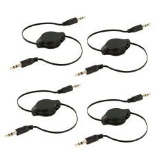 4X Black 3.5mm Retractable Audio AUX Auxiliary Cable Cord for Car iPod MP3