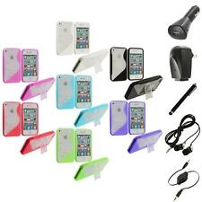 Color Clear TPU Hybrid S-Line Case Cover Stand+Accessories for iPhone 4 4G 4S