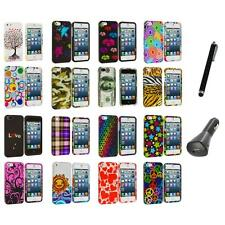 Colorful Design Hard Snap-On Rubberized Case Cover+Charger+Pen for iPhone 5 5S