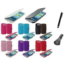 Wallet Magnetic Case Hard Folio Pouch+Charger+Pen for Samsung Galaxy S3 S III