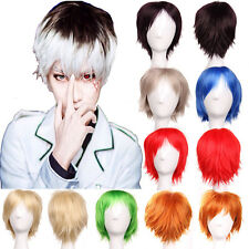 Reusable Short Full Wig Anime Cosplay Party Daily Dress Purple Orange Green DS