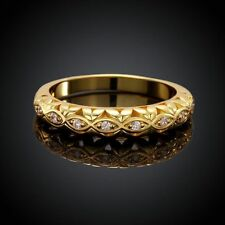 High Quality Girl Charming 18K Yellow Gold Fill Crystal Solid Band Ring Jewelry