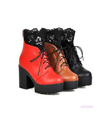 Hot Womens Girls Mid Calf Lace Up Lace Boots High Heels Shoes AU All Size Y1423