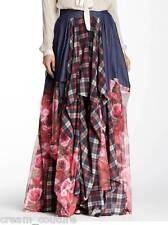 NEW TOV HOLY The Damsel's FLORAL Red Plaid Flowing Maxi Skirt S M L XL MSRP $216