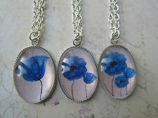 3 Designs Vintage Look Silver Plated Blue Poppy Cameo Necklace New in Gift Bag