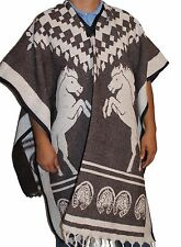 Reversible Warm Mexican Poncho Gaban Heavy Blanket Cape Ruana Traditional Tribal